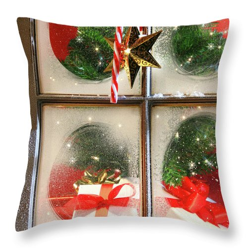 Background Throw Pillow featuring the photograph Festive Holiday Window by Sandra Cunningham