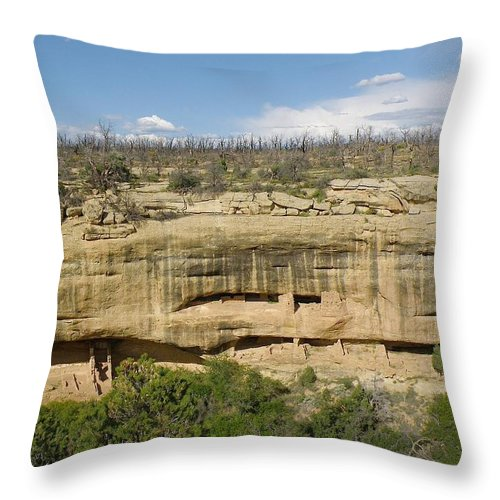 Mesa Verde Throw Pillow featuring the photograph Fewkes Canyon Cliff Dwelling by FeVa Fotos