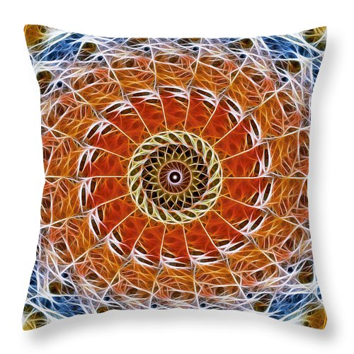 Abstract Throw Pillow featuring the digital art Fiber Eye by Stephen Younts