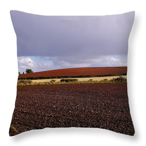 Fields Throw Pillow featuring the photograph Fields In Autumn by John Chatterley