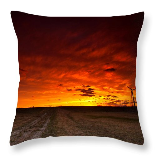 Sunset Throw Pillow featuring the photograph Fiery Sunset by Cale Best