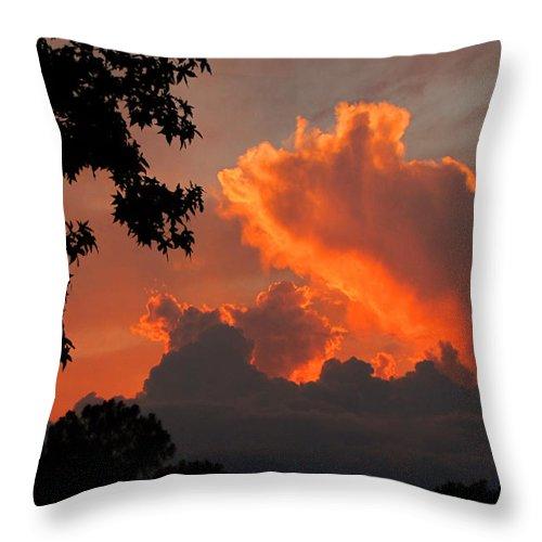 Sunset Throw Pillow featuring the photograph Fiery Sunset by Peg Urban
