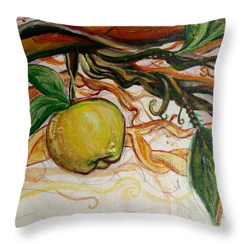 Apple Throw Pillow featuring the painting Fifth World Five by Kate Fortin