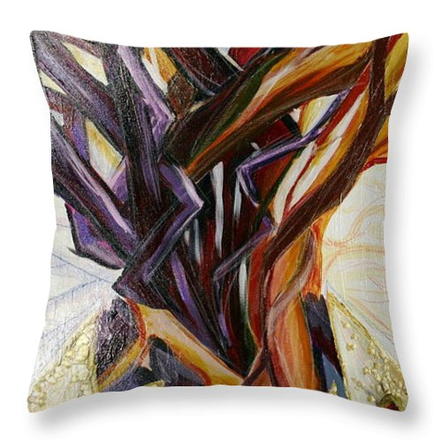Apple Throw Pillow featuring the painting Fifth World Three by Kate Fortin