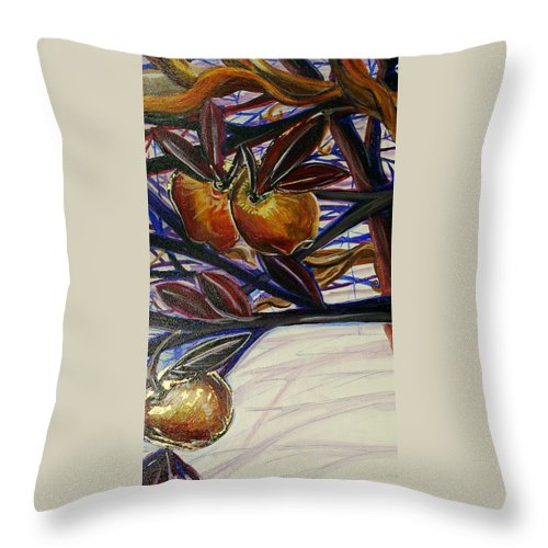 Tree Throw Pillow featuring the painting Fifth World Two by Kate Fortin