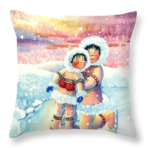 Childrens Book Illustrator Throw Pillow featuring the painting Figure Skater 7 by Hanne Lore Koehler
