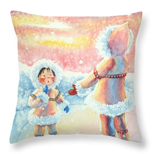 Childrens Book Illustrator Throw Pillow featuring the painting Figure Skater 8 by Hanne Lore Koehler