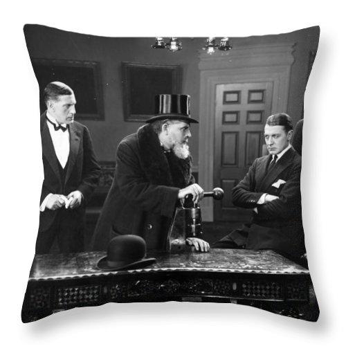 -men Group- Throw Pillow featuring the photograph Film Still: Men Group by Granger