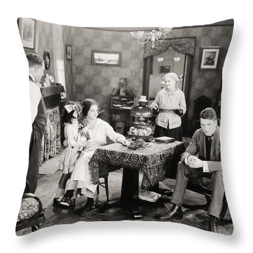 -family Groups- Throw Pillow featuring the photograph Film Still: Poorhouse by Granger
