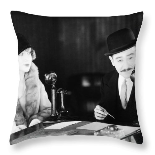 -telephones- Throw Pillow featuring the photograph Film Still: Telephones by Granger