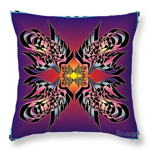 Abstracts Throw Pillow featuring the digital art Fire Birds by Walter Neal