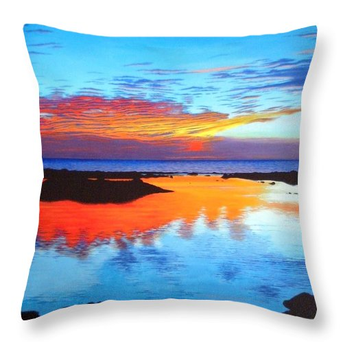 Seascape Throw Pillow featuring the painting Fire In The Sky by Rick Gallant