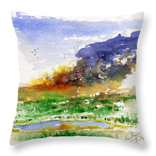 Fire Throw Pillow featuring the painting Fire on the Pond by John D Benson