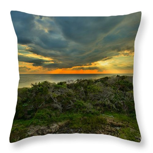 Obx Throw Pillow featuring the photograph Fire Over The Outer Banks by Adam Jewell