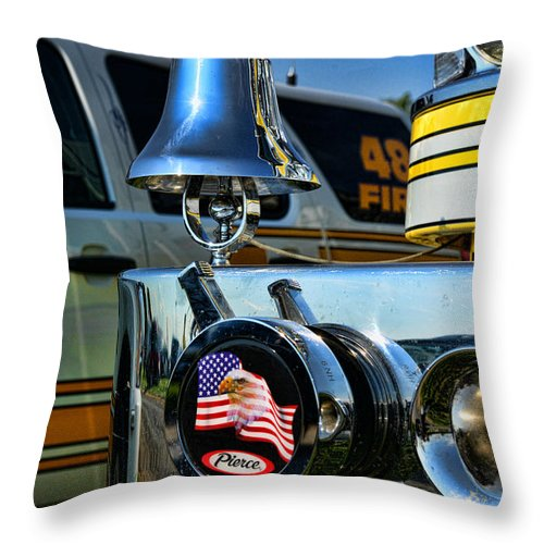 Fireman Throw Pillow featuring the photograph Fire Truck Bell by Paul Ward