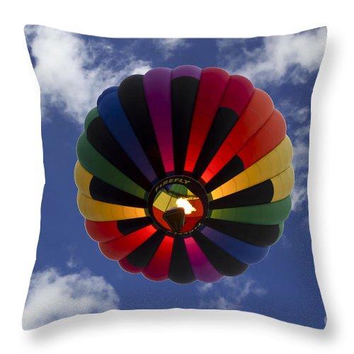 Hot Air Balloon Throw Pillow featuring the photograph Firefly by Brenda Giasson