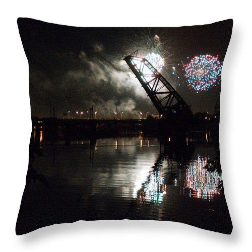Fireworks Throw Pillow featuring the photograph Fireworks by Barry Doherty