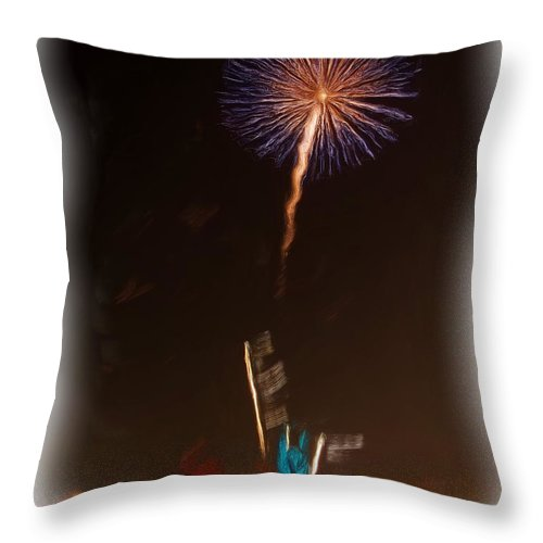 Fireworks Throw Pillow featuring the photograph Fireworks In Oil by Thomas MacPherson Jr