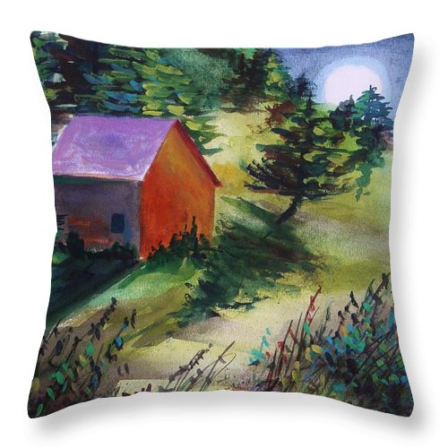 Watercolor Throw Pillow featuring the painting First Full Moon Night by John Williams