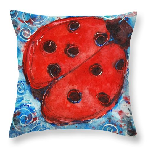 Ladybug Throw Pillow featuring the painting First Lady Bug By Schulmanart by Miriam Schulman