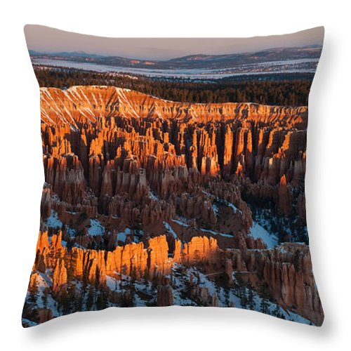 Bronstein Throw Pillow featuring the photograph First Light At Bryce Canyon by Sandra Bronstein