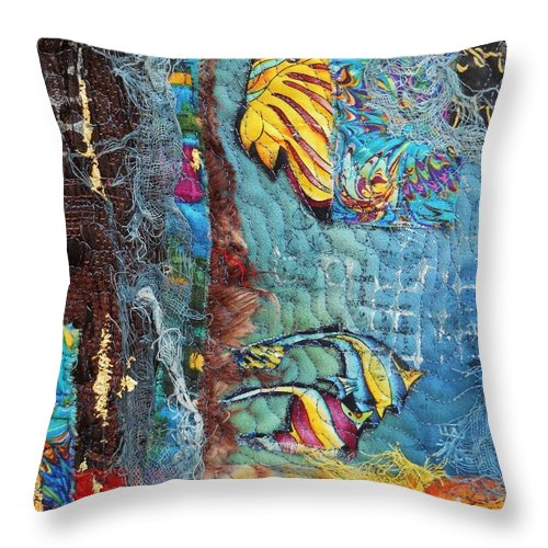 Fish Images Throw Pillow featuring the mixed media Fish 2 by Averil Stuart-Head