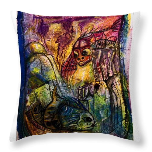 Fish Throw Pillow featuring the painting Fish Kritters by Mimulux patricia No