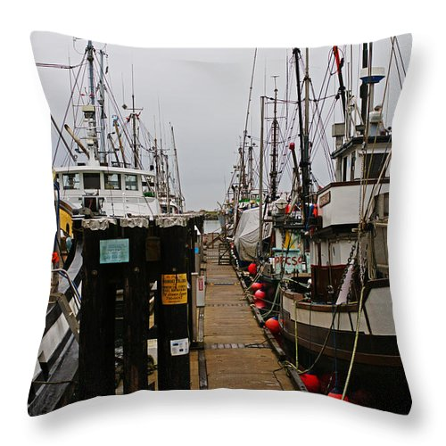 Fishing Boats Throw Pillow featuring the photograph Fishing Boat Walkway by Randy Harris