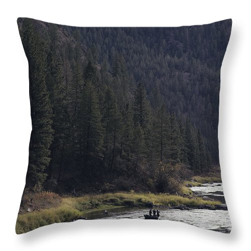 Fishing And Fishermen Throw Pillow featuring the photograph Fishing For Steelhead On The Salmon by Joel Sartore