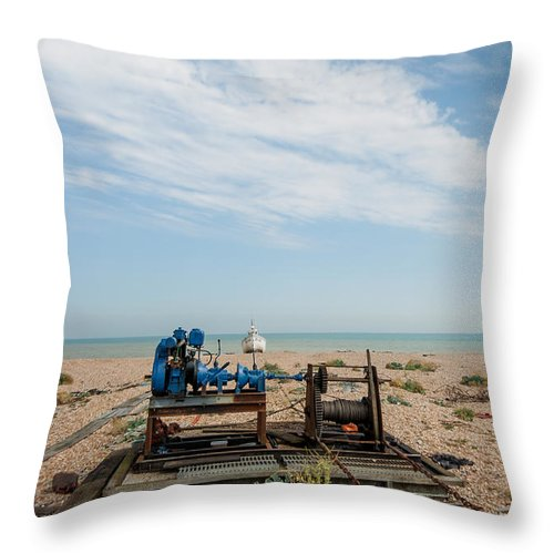 Boat Throw Pillow featuring the photograph Fishing Winches by Dawn OConnor
