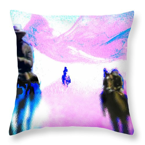 Five Riders Throw Pillow featuring the digital art Five Riders by Seth Weaver