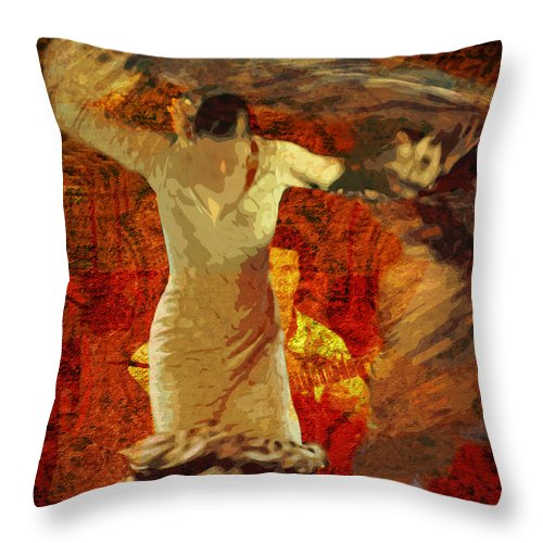 Flamenco Throw Pillow featuring the photograph Flamenco Series No 2 by Mary Machare
