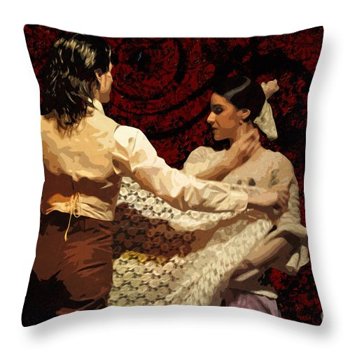Flamenco Throw Pillow featuring the photograph Flamenco Series No 3 by Mary Machare