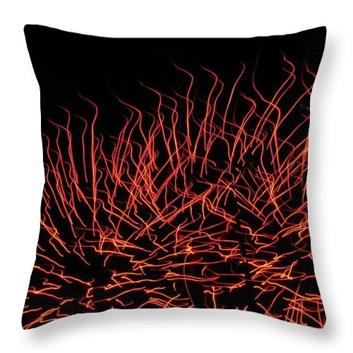 Flaming Fireworks Throw Pillow featuring the photograph Flaming Fireworks by Denise Keegan Frawley