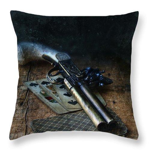 Gun Throw Pillow featuring the photograph Flint Lock Pistol And Playing Cards by Jill Battaglia