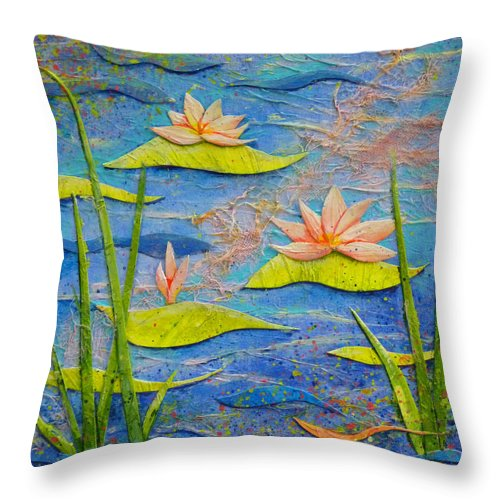 Water Lilies Throw Pillow featuring the painting Floating Lilies by Carla Parris