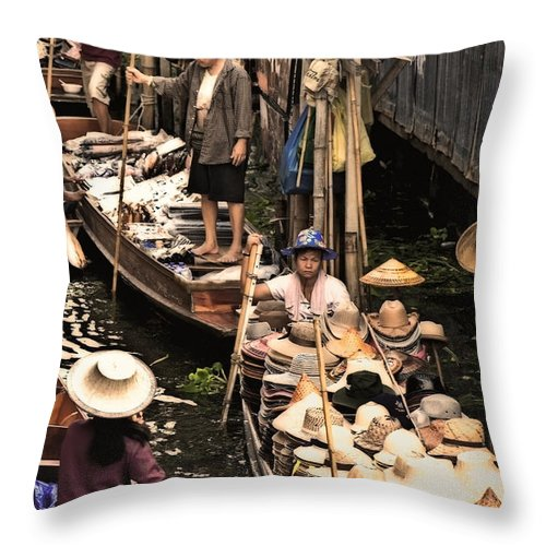 Floating Market Throw Pillow featuring the photograph Floating Market Bangkok by Charuhas Images