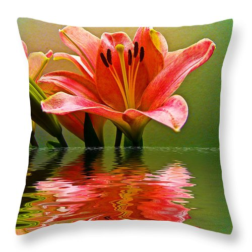 Throw Pillow featuring the photograph Flooded Lily by Bill Barber