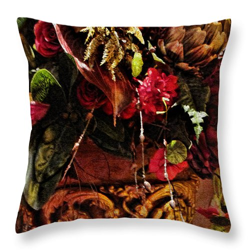 Floral Antique Throw Pillow featuring the photograph Floral Antique by Joan Minchak