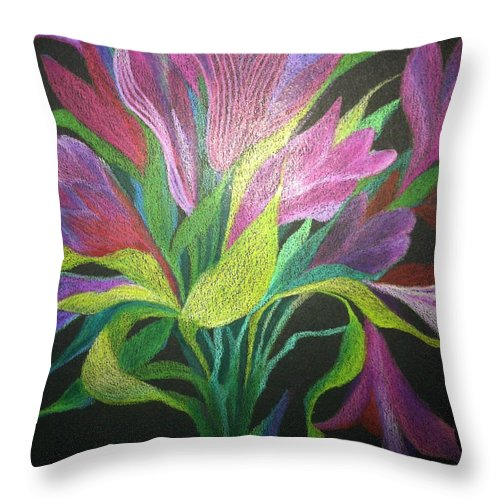 Floral Throw Pillow featuring the drawing Floral Fantasy 1 by Dulcie Dee