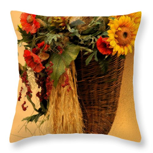 Floral Throw Pillow featuring the photograph Floral Horn Of Plenty by Mike Nellums