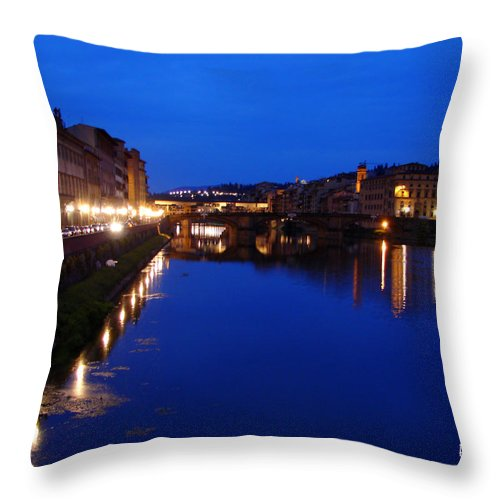 Italy Throw Pillow featuring the photograph Florence Arno River Night by Patrick Witz