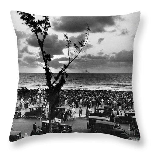 1927 Throw Pillow featuring the photograph Florida: Miami Beach, 1927 by Granger