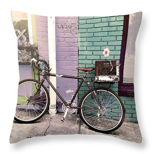 Street Photography Throw Pillow featuring the photograph Flower For Later Urban Art by Gray Artus