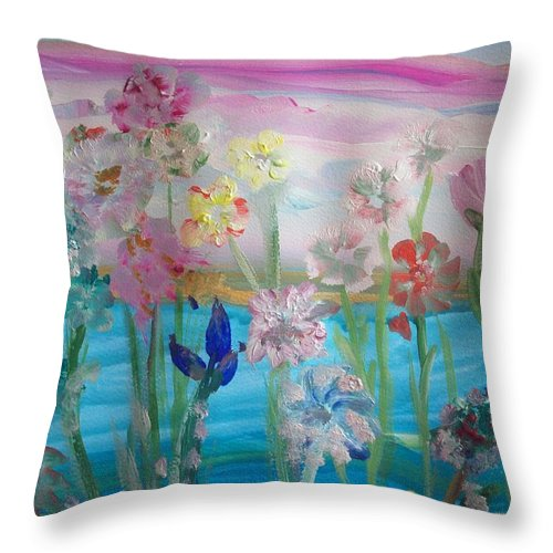 Flower Throw Pillow featuring the painting Flower Power by Judith Desrosiers