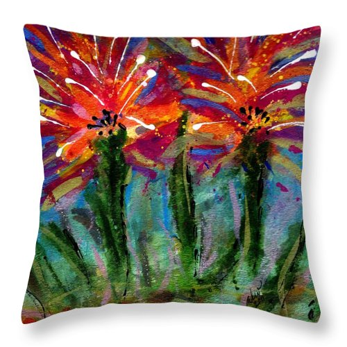 Vibrant Throw Pillow featuring the mixed media Flower Towers by Angela L Walker