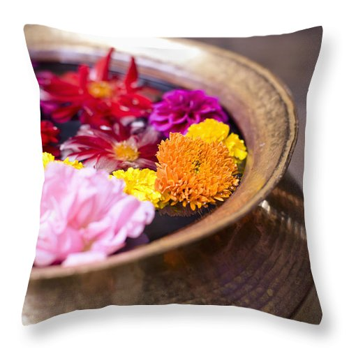 Bowl Throw Pillow featuring the photograph Flowers Floating In A Bowl Filled With by David DuChemin