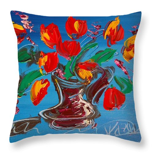Throw Pillow featuring the mixed media Flowers Tulips by Mark Kazav