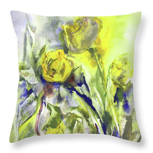Still Life Throw Pillow featuring the painting Flowery Abstraction by Miki De Goodaboom