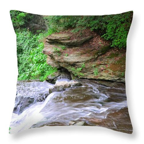 Letchworth Throw Pillow featuring the photograph Flowing Water by Kathleen Struckle